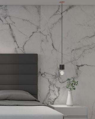 Bare Bulb Marble Pendant - Black